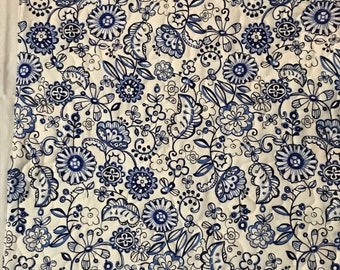 "American Girl Doll Quilt, cotton reversible quilt, blue prints quilt, 17""x 21"""