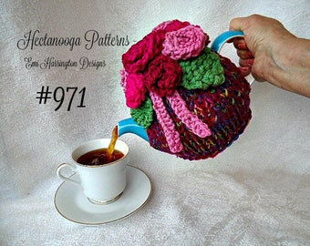 KNITTING PATTERN - Knitted Tea Cozy --  for the kitchen, gift idea, includes: flowers, leaves, tendrils, tea cozy, make to fit any size #971
