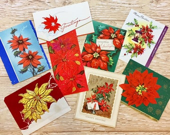 8 Vintage Poinsettia Christmas Cards, Midcentury Poinsettia Cards, 1940s-1960s Christmas Poinsettia Set #1