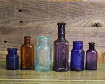 Instant Collection (6) SMALL BOTTLE GROUP -Purple Glass- Amber Brown- Cobalt Blue- Antique Bottle Lot- R9