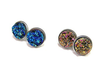 ON SALE TODAY Faux Druzy Stud Earrings Pink Magenta Studs Titanium Blue Studs top selling jewelry most popular jewelry stud earrings