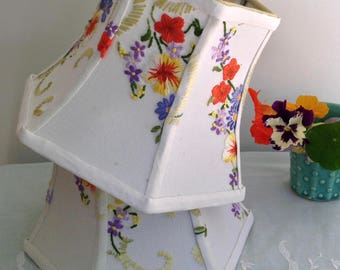 "Flowers Embroidery Lampshade, Hex Lamp Shade 6""t x 8""b x 6"" high, clip on, Vintage English Linen Embroidery, Cute as a button, A treat!"