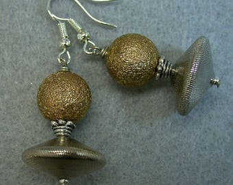 Vintage German Glass Silver Abacus Dangle Drop Bead Earrings, Vintage Gold Bead , Silver Ear Wires - GIFT WRAPPED