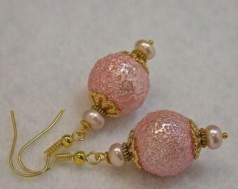 Vintage Japanese Pink Sugar Bead Dangle Drop OOAK Earrings, Vintage Cultured Pink Pearls, Gold French Ear Wires