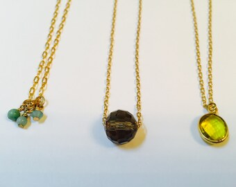 Delicate chain necklaces!  Gold chains with semi precious pendant beads- adjustable length width tiny lobster claw clasp