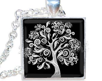 """25% OFF - Tree Whimsical Nature 1"""" Square Glass Pendant or with Necklace - SQ103"""