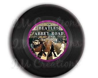 "20% OFF - Vinyl Record Beatles Pocket Mirror, Magnet or Pinback Button - Wedding Favors, Party themes - 2.25"" MR505"