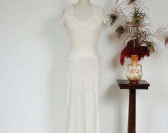 Memorial Weekend Sale - Vintage 1930s Wedding Dress - Gorgeous White Cotton Zig Zag Lace Late 30s Bridal Gown Sweetheart Neckline and Peplum