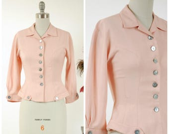 Vintage 1950s Jacket - Smart Pink Linen New Look Early 50s Jacket or Blouse with Nipped Waist and Flared Hips