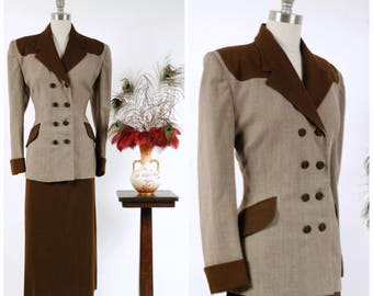 Vintage 1940s Suit - Autumn 2017 Lookbook - The Calville Suit - Fantastic 40s Western Inspired Color Block Skirt Suit with Strong Shoulders