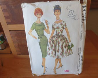1960s McCalls Easy Pattern 5357 / Misses dress with slim or full skirt / Size Misses 14 Bust 34 / Partial cut sewing pattern / 1960