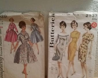 Two Vtg Patterns / Butterick 2137 Simplicity 3039 / Size 14 Bust 34 / 1960s Junior and Miss Princess Sheath and Dress  / with instructions