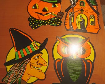 LISTING for ONE ONLY Cardboard Halloween Cutouts decor / witch pumpkin owl / Vintage Halloween decor / Biestle / Cardboard Double Sided