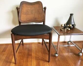 Arne Vodder Tilt Back Vintage Desk Chair Mid Century, Retro, Caned, Danish Modern