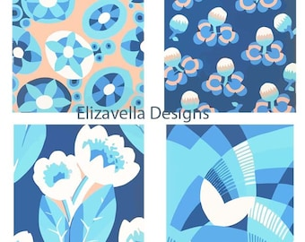 4 blue flower patterns wall art printables floral patterns digital background wallpaper instant download digital art  home living room decor