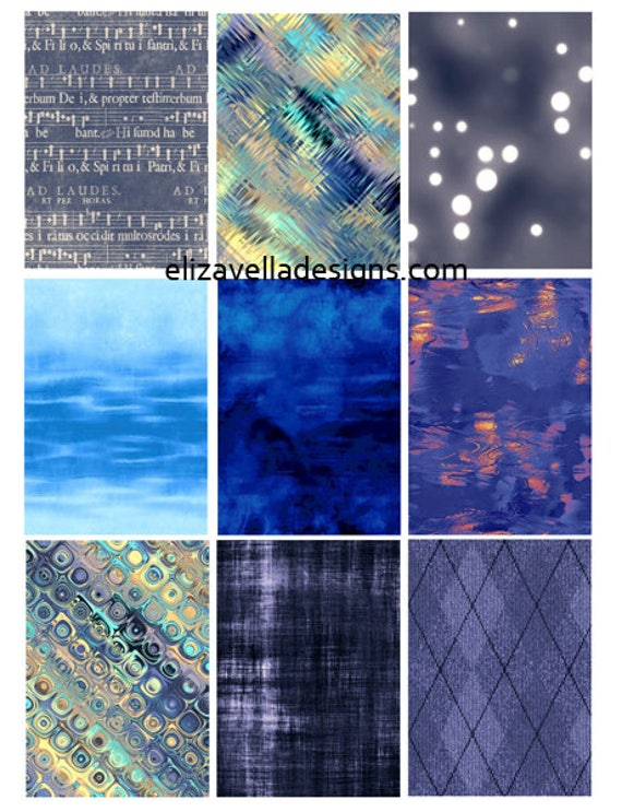"""blue patterns textures backgrounds 2.5"""" x 3.5"""" inch aceo size clip art digital download collage sheet crafts art printable"""