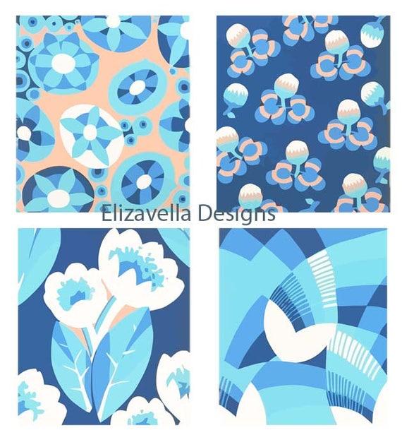 4 blue floral patterns flower patterns digital background wallpaper instant download digital art wall art printables home living room decor