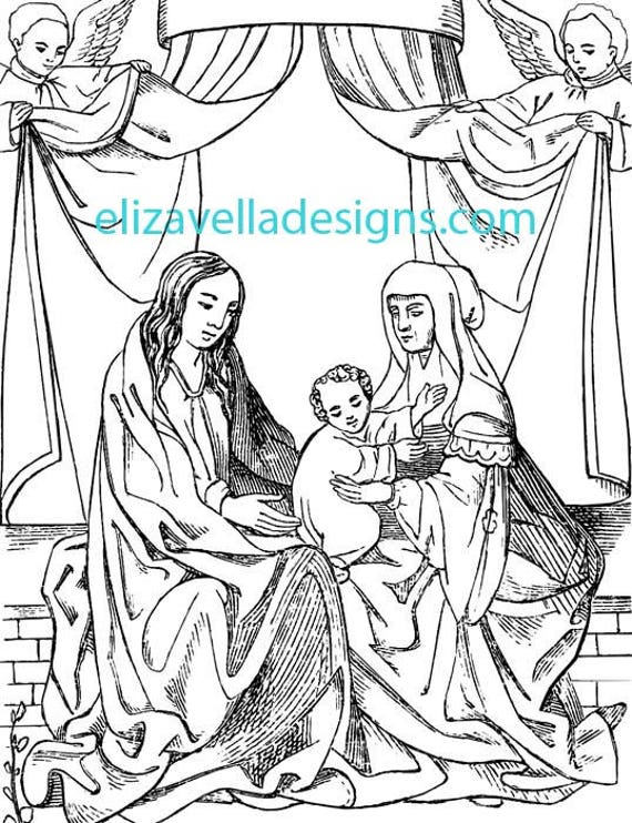 virgin mother mary jesus adult and kids coloring page printable art digital image download graphics religious christian printables