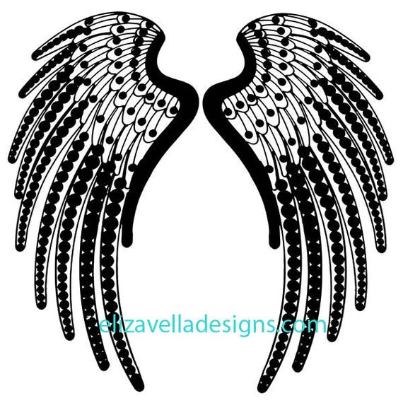 deco angel wings clipart png silhouettes Digital Download graphics image digital stamp printable art