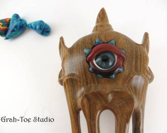 Monster Hair Fork,Grahtoe  Studio,LIgnum Wood, Hair Accessory 4 Prong Hair Forks,Wood Hair Fork,Wooden Hair Fork, Sculpted Fork, Evil Eye