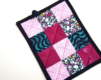 Quilted Patchwork Pot Holder in Shades of Pink and Blue Florals and Prints