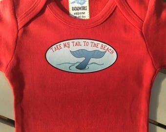 Take my Tail to the Beach, Summer bodysuit, Beachwear, baby boy bodysuit, baby girl bodysuit