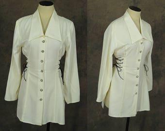 vintage 90s Corset Tunic - 1990s White Button Front Blouse Lace Up Side Shirt Sz S M