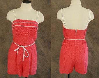vintage 70s Playsuit - 1970s Red Swiss Dotted Romper Play Suit Sz S