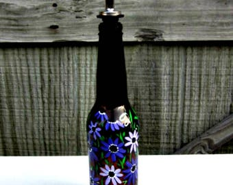 Dish Soap Dispenser,  Pretty Amber Glass Bottle, Painted Glass, Oil and Vinegar Bottle, Shades of Purple Flowers, Kitchen Decoration