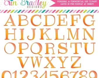50% OFF SALE Clipart Alphabet Orange Instant Download Commercial Use Clip Art Alpha for Digital Scrapbooking