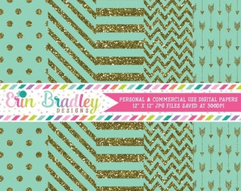 80% OFF SALE Digital Paper Pack Gold Glitter and Aqua Commercial Use Digital Scrapbook Papers Polka Dots Stripes Chevron and Arrows