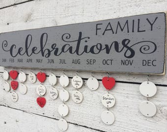 Family birthday board, Family celebrations sign, birthday calendar, wall family calendar, Christmas gift for mom, Holiday gift