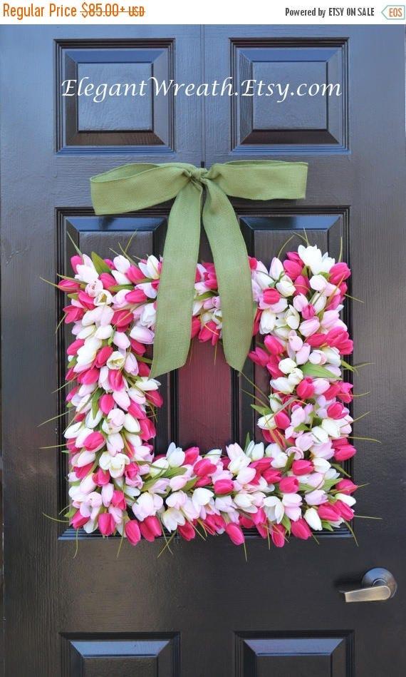SUMMER WREATH SALE Pink Tulip Square Spring Wreath- Door Wreath- Easter Wreath- Tulip Wreath- 20 inch shown, custom colors- The Original Tul