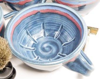 Ceramic Wetshave Mug for Left-Handed Guys - Shaving Mug - Wet Shave Pottery - Pottery Shaving Mug - Wet Shaving Dish - In Stock