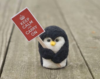 Penguin Protestor - Keep Calm and Carry On