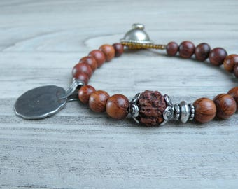 Gypsy Mala Bracelet, Wood Bracelet, Tribal Coin, Charm Bracelet, Prayer Bead Bracelet, Handmade