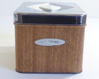 vintage wood grain metal coffee cannister coffee storage tin chrome top vintage kitchen counter storage masterware - Metal Storage Containers