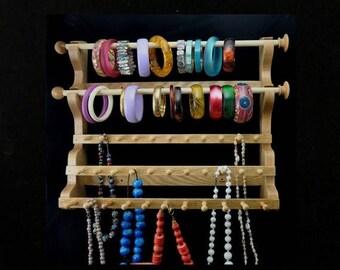 ON SALE Hanging Bracelet and Necklace Holder Storage Organizer Display Oak
