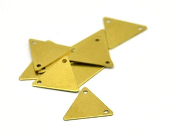 Raw Brass Triangles, 50 Raw Brass Triangle Charms With 2 Holes (12x14mm) A0014