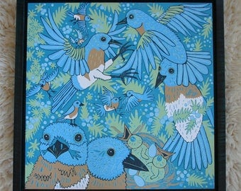 Bluebird wall art large square original woodcut, framed in teal blue curly maple, blockprint, printmaking