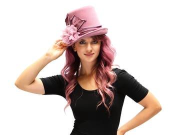 Top Hat Dusty Pink Top Hat Victorian Riding Hat Women's Top Hat Gypsy Top Hat Stevie Nicks Hat Felt Top Hat Steampunk Hat Hippie Top Hat