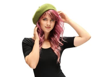 Peridot Beret French Beret Wool Beret 1930s 1940s Fashion Warm Knit Hat Women's Gift Knit Beret Hat Spring Fashion Gift For Her Winter Hat