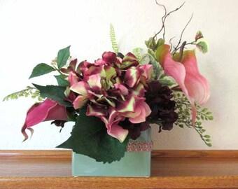 Burgundy, Dark Plum, Pink and Green Calla Lily, Hydrangea, Anthurium and Succulent Floral Arrangement