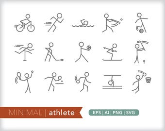 Minimal athlete line icons | EPS AI PNG | Geometric Sports Clipart Design Elements Digital Download