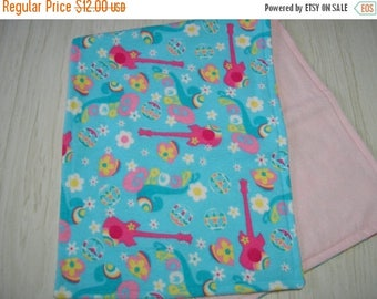 SALE Burp Cloth Gift Set of 3 Groovy Guitars Hearts Peace Turquoise Larger Size