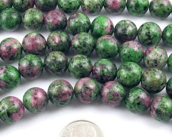 "Round Gemstone Beads-Green Ruby Zoisite 10mm 15"" strand (38)"