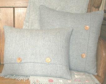 Pure Wool Grey Herringbone Tweed Cushion / Throw Pillow Cover - Blue Grey - Reversible pillow - Handmade in UK