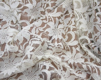 Stretch Ivory Lace Fabric Large  Floral Design on Tulle Background