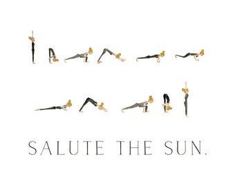 Salute the Sun - Watercolor Yoga Print