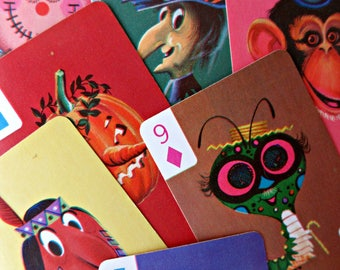 Vintage Card Game, Crazy Faces Cards, Captain Kangaroo Card Game, Face Illustrations, Children's Card Game, INCOMPLETE, Vintage Craft Supply